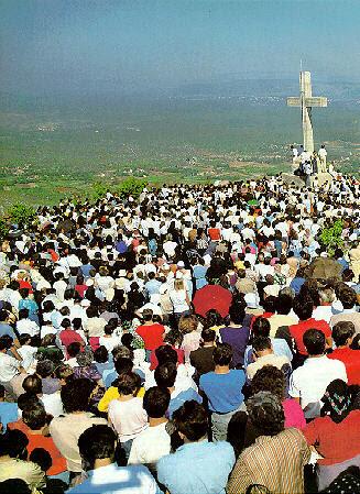 pilgrims on Cross Mountain