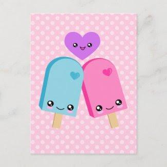 Kawaii Pretty Popsicles BFF Postcard postcard