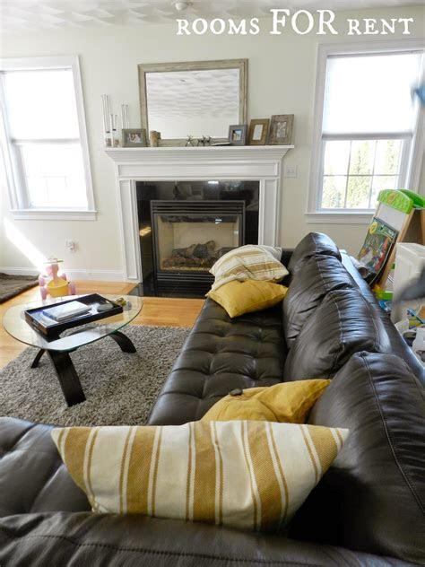 style  dark leather sofa den makeover home