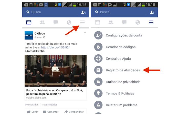 Acessando o Registro de Atividades do Facebook pelo Android (Foto: Reprodução/Marvin Costa)