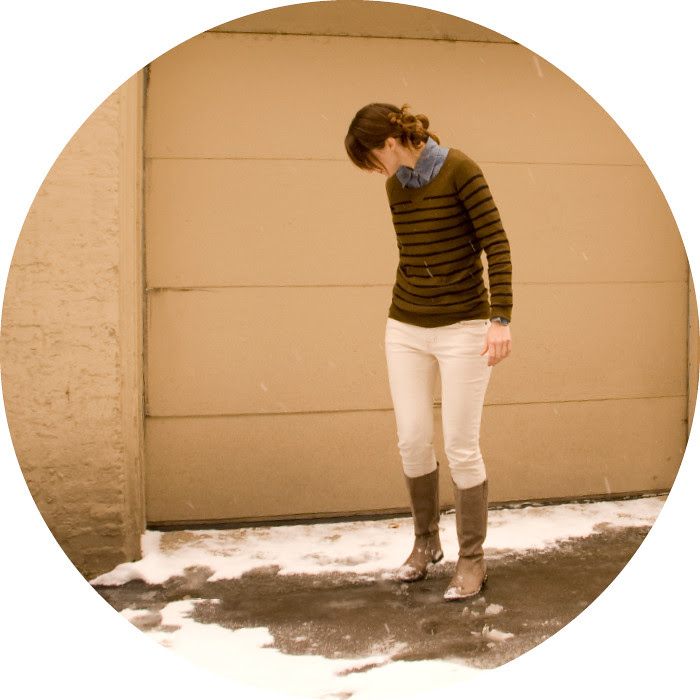 dash dot dotty, collared shirt with sweater, buttoned up, chambray and stripes, ootd, white jeans in winter,