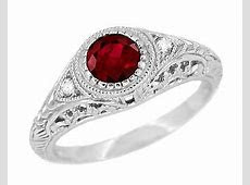Art Deco Engraved Ruby and Diamond Filigree Engagement Ring in 14 Karat White Gold   Antique