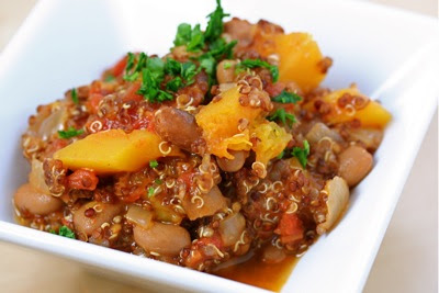 andean bean stew with squash and quinoa