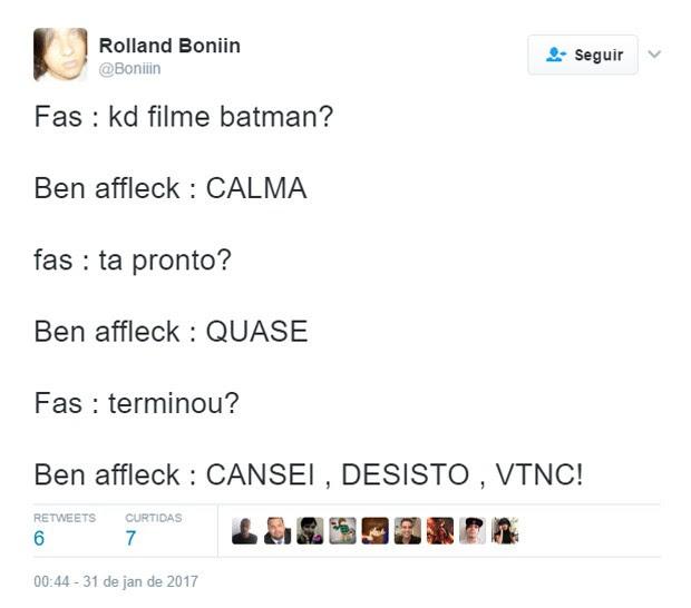 Fã lamenta saída de Ben Affleck da direção de filme solo de Batman (Foto: Reprodução)