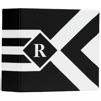White Stripes and Chevrons on Black with Monogram 3 Ring Binder
