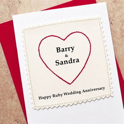 personalised 40th ruby wedding anniversary card by jenny