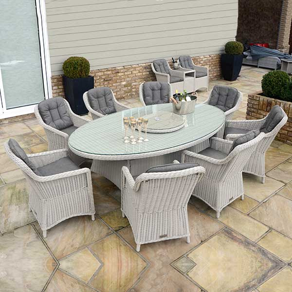 Oval Table, Lazy Susan & 8 Henley Dining Chairs - Pebble ...