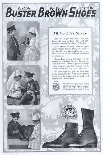 Buster Brown Shoes ad, 1918