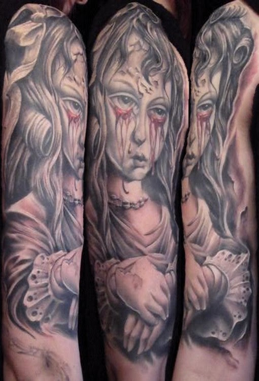Creepy Demon Tattoo On Sleeves Images Tattoomagz