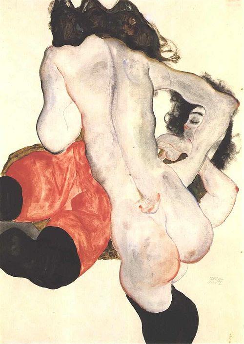 Schiele - Liegende Frau mit roter Hose und weiblicher Akt