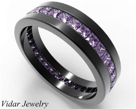 Mens Wedding Band,Black Gold Princess Cut Amethyst Wedding