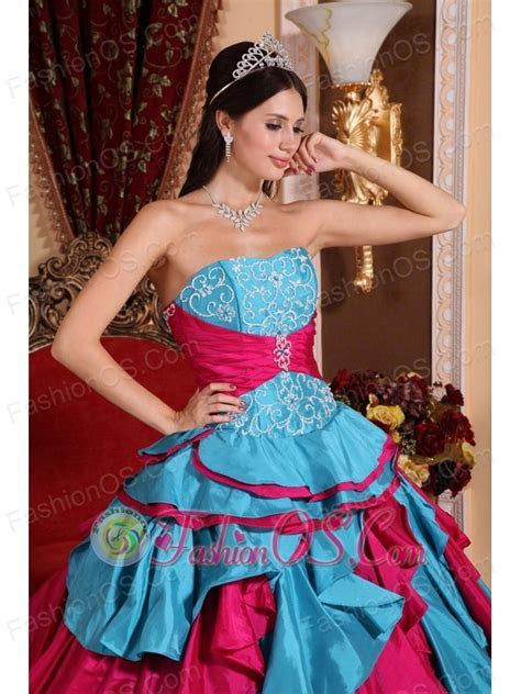 Discount Aqua Blue and Red Quinceanera Dress Strapless