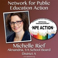 Michelle Rief for the District A seat on the Alexandria, VA Board of Education