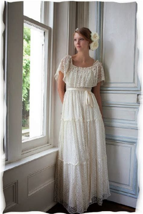 1970s tiered lace wedding dress: Gypsy style Dress of the
