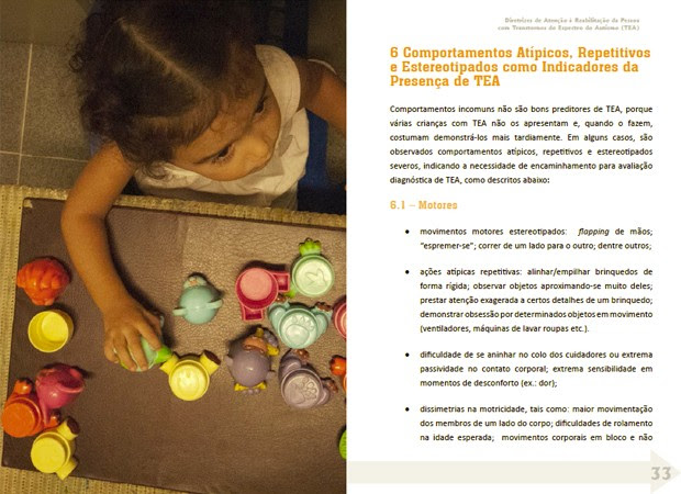 Página de cartilha sobre autismo lançada pelo Ministério da Saúde (Foto: Divulgação/Ministério da Saúde)