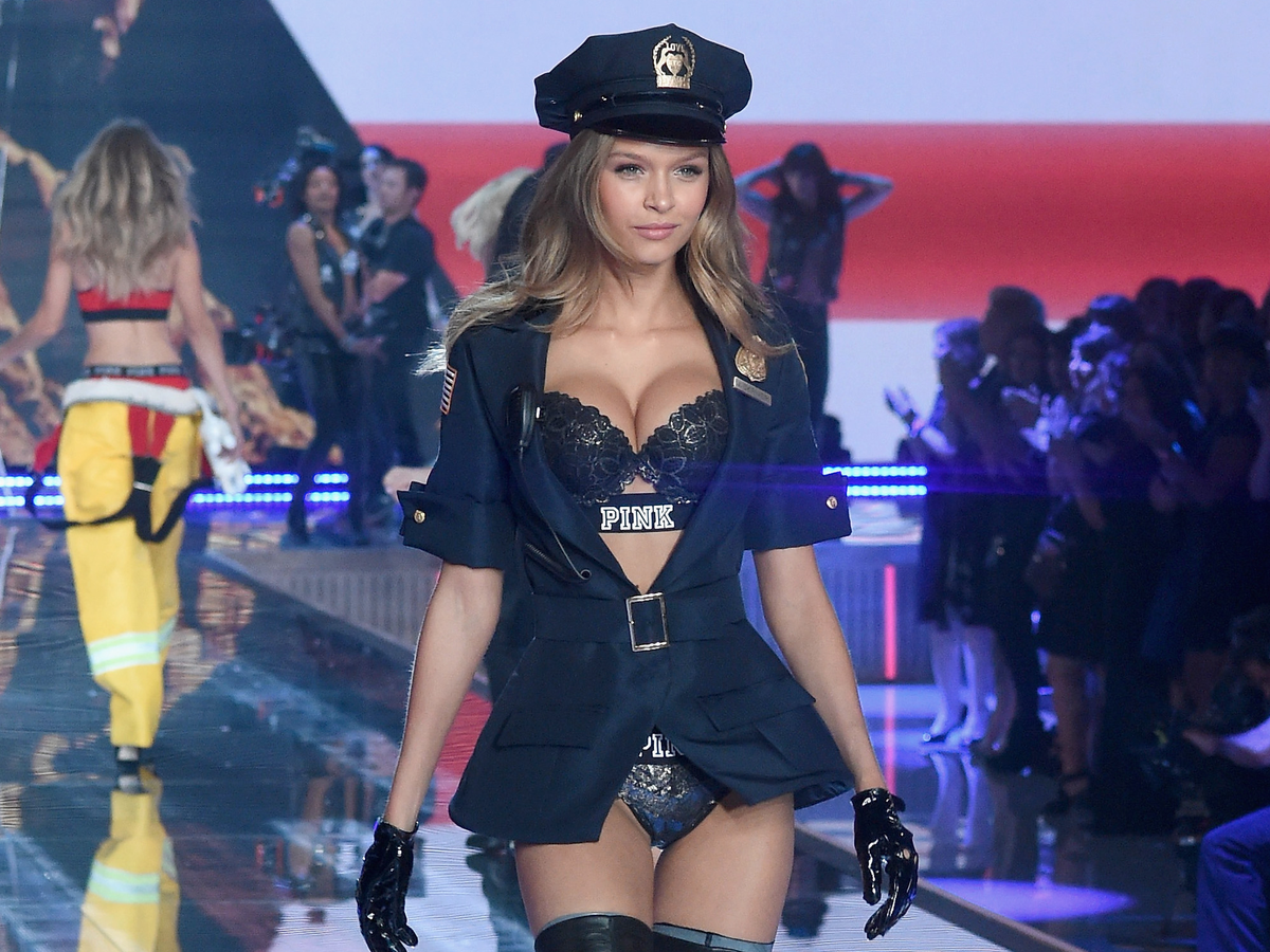 Josephine Skriver strutted her stuff, police-woman style, for the PINK section.
