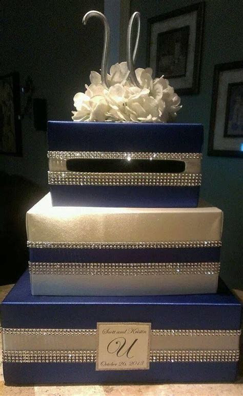 Blue and Bling wedding card box   My Creations