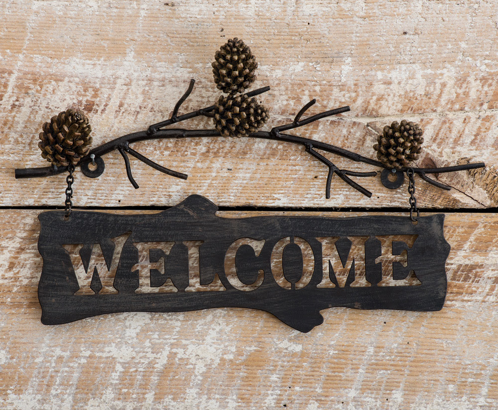 Pine Branches Metal Welcome Sign