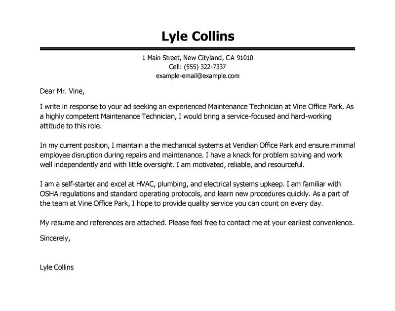 example resume example cover letter maintenance technician