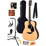 Yamaha FG700S Folk Acoustic Guitar Bundle with Hard Case, Strap, Stand, Tuner, Strings, Picks, Capo, String Winder...