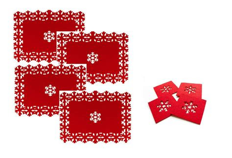 beautiful christmas placemats coasters set snowflake
