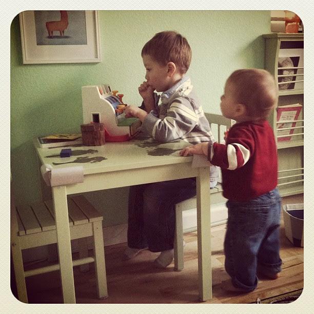 """Watching big brother at play. (heard soon after: """"Nooo, kuh-WIN!"""""""