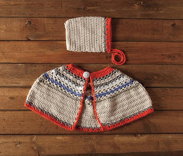 Bouquet Poncho and Bonnet Crochet Set - Free Crochet Pattern