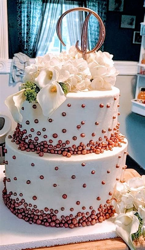 Buttercream Wedding Cake With Rose Gold Fondant Pearls