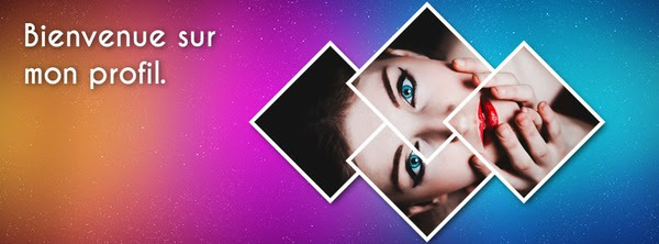 Photo Montage Facebook Cover With Lozenges And Colorful