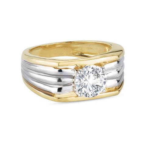 Zanyah? Solitaire Vintage Mens Diamond Ring in Yellow and