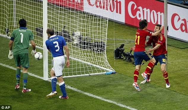 Heads I win: Silva scores the opening goal past Italy goalkeeper Buffon