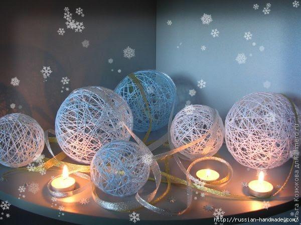 Нежные цветы, снеговик и декоративные шары из ниток. Мастер-классы (26) (600x450, 157Kb)