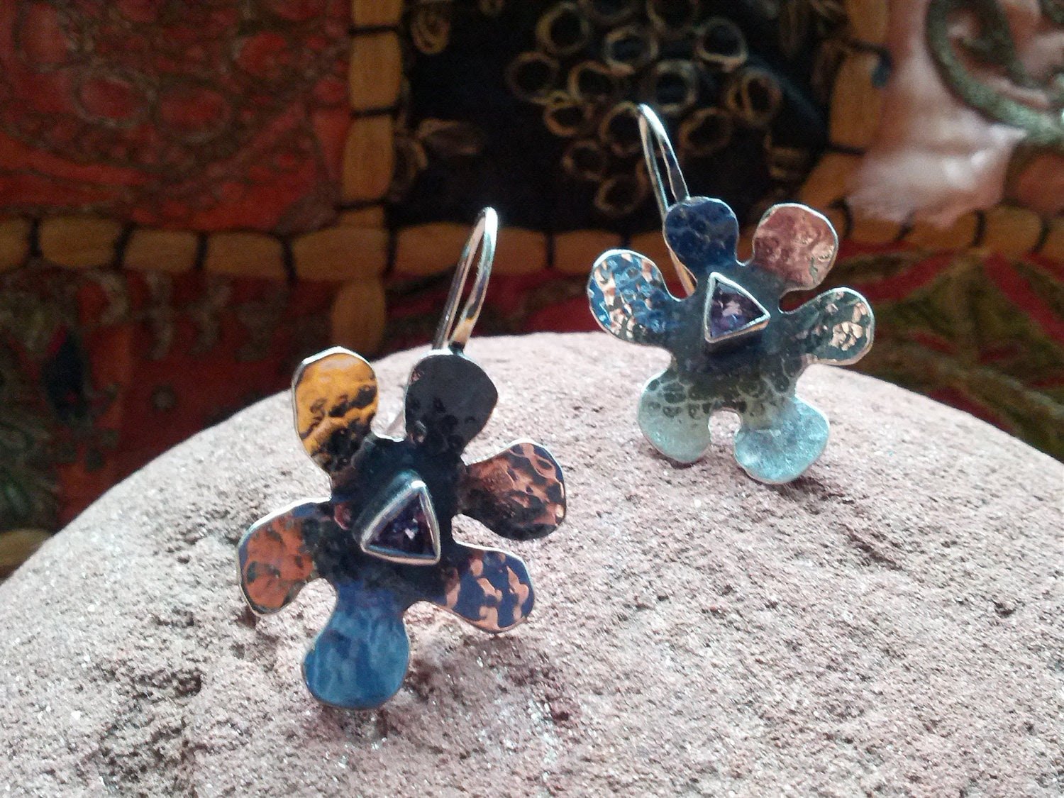 Hammered Sterling Silver and Tanzanite Earrings