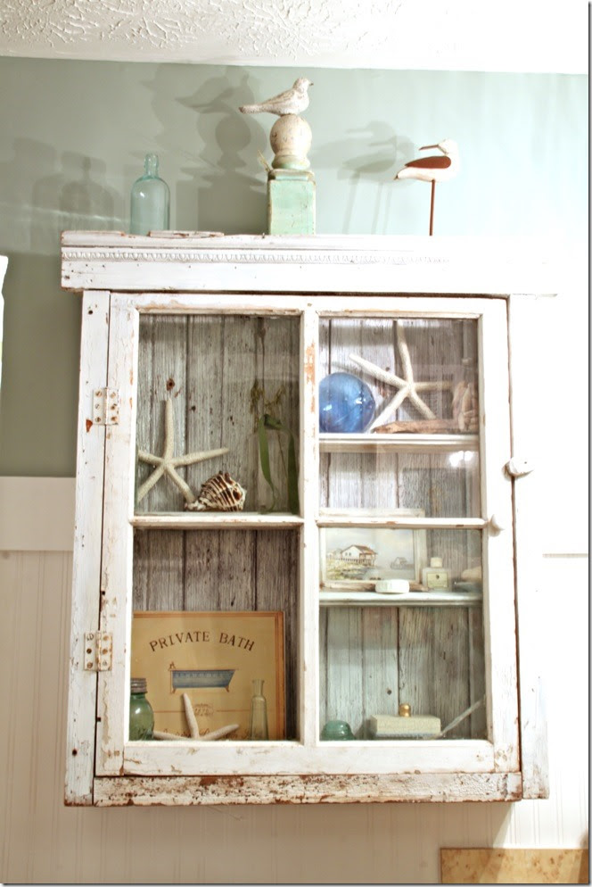 master bath rustic cabinet