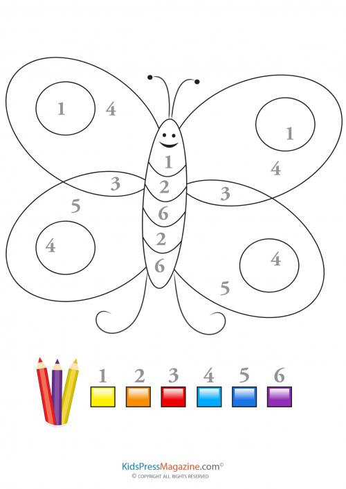 Color by Number - Butterfly 2 - KidsPressMagazine.com