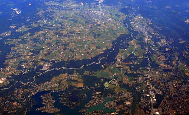 Aerial View Of White River In The U S State Of Washington