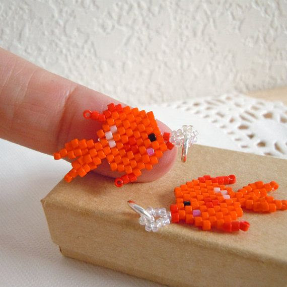 Goldfish Charm Seed Bead Jewelry Peyote Stitch by BeadCrumbs