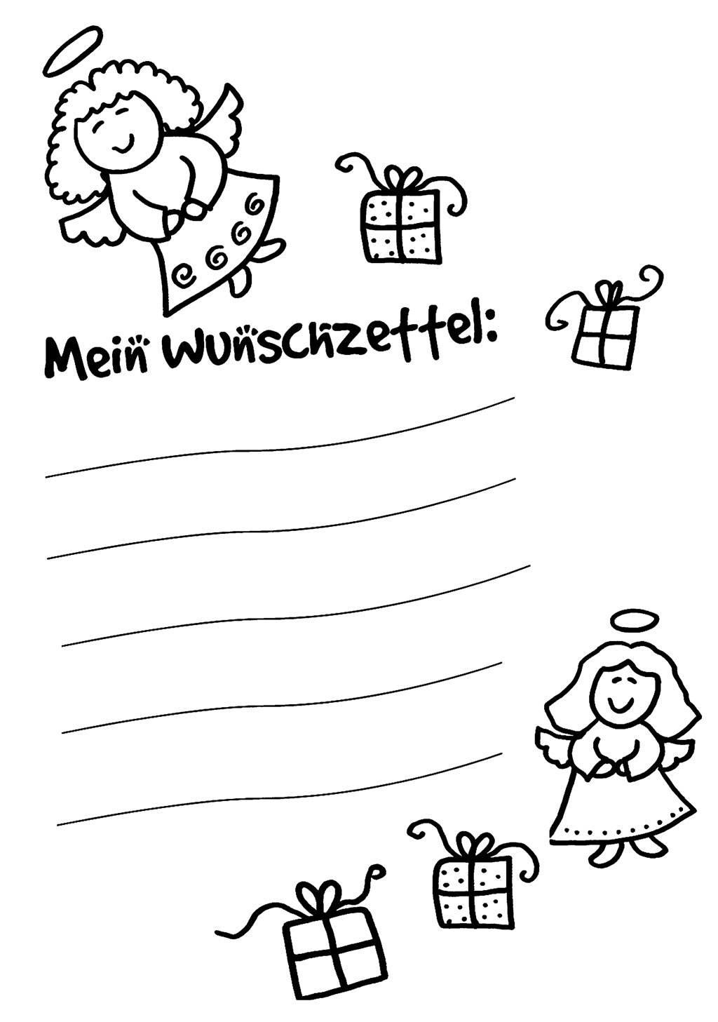 Ausmalbild Wunschzettel für Weihnachten Wunschzettel für Kinder kostenlos ausdrucken