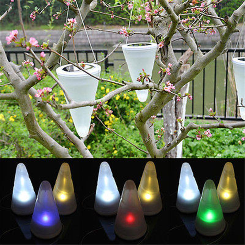 2017 Wholesale 2016 New Solar Light Power Garden Lights Outdoor Cornet Cone Led Lamp Hanging