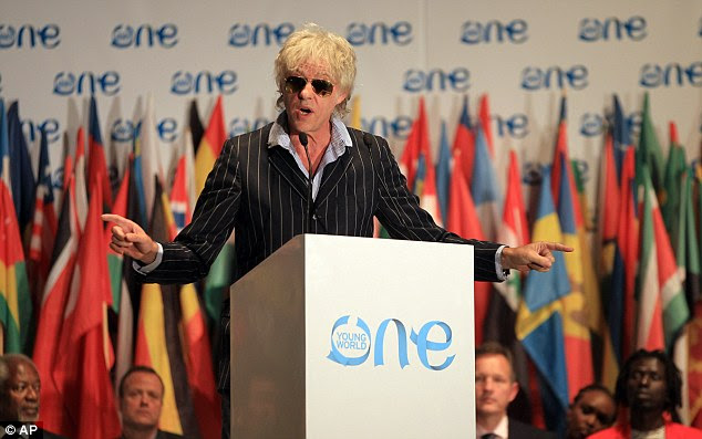 Warning: Bob Geldof speaks at the One Young World summit at Soccer City in Johannesburg, South Africa