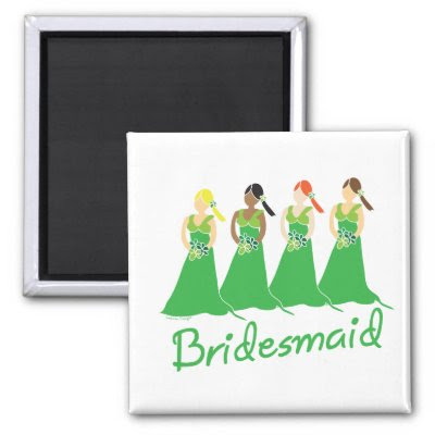 Bridesmaids in Green Wedding Attendant Refrigerator Magnets by