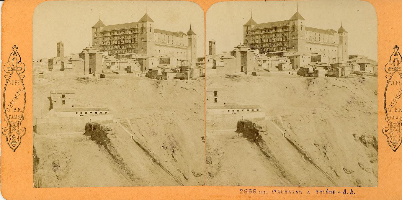 Fotografía estereoscópica de Toledo. Alcázar hacia 1860. Foto de Jean Andrieu