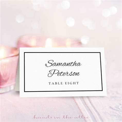 Wedding Place Card Template   Free Download   Hands in the