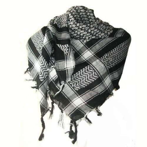 keffieh foulard palestinien 100 coton tiss noir et blanc echarpes et foulards. Black Bedroom Furniture Sets. Home Design Ideas