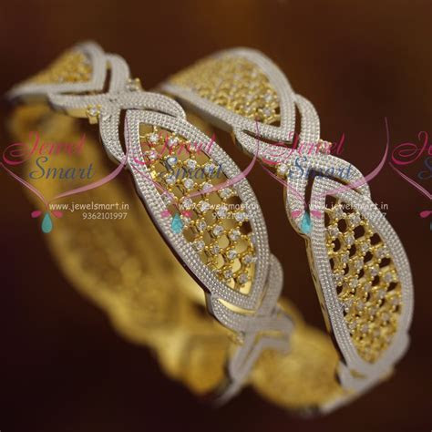 B7224 CZ Gold Silver Two Tone Plated Broad Fancy Bangles
