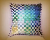 "Decorative cushion -  woven satin ribbon - 18"" x 18"" - square cushion - ombré effect - contemporary decor - throw pillow - eco friendly."