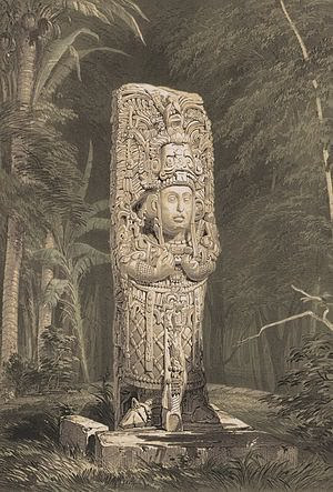 Stela D at Copan by Catherwood