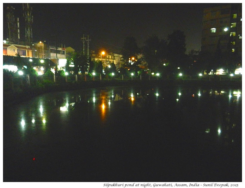 Silpukhuri pond at night, Guwahati, Assam, India - Images by Sunil Deepak