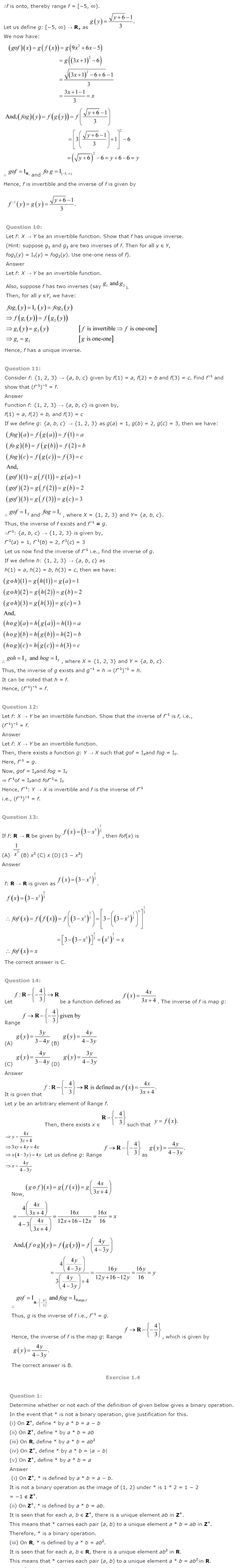 NCERT Solutions For Class 12 Maths Chapter 1 Relations and Functions-7