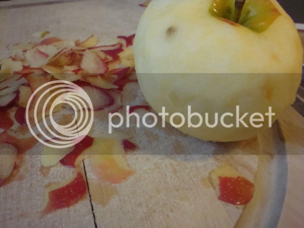 Single peeled apple
